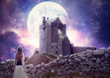 Bright Moon Fairytale - stars, rocks, grass, sky, clouds, wall, women, moon, purple, moss, flowers, castle