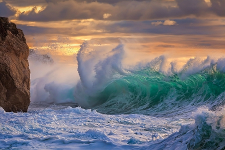 Crashing Waves - rock, crashing, beautiful, sunset, waves, sea, blue
