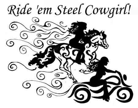 Ride Em' Cowgirls - art, westerns, fun, women, horses, cowgirls, drawing, motorcycles, females, girls