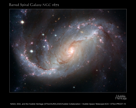 barred spiral galaxy - out, two, straight, centre, from