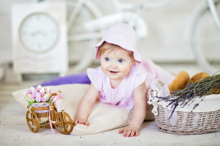 ♥ - pure love, adorable, baby, hirl, love, flowers, child, babies, blue eyes, eyes