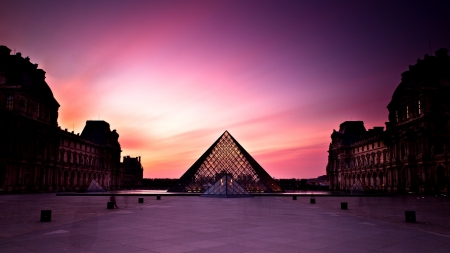 the louvre museum in magenta - museum, pyramids, magenta, color, sunset