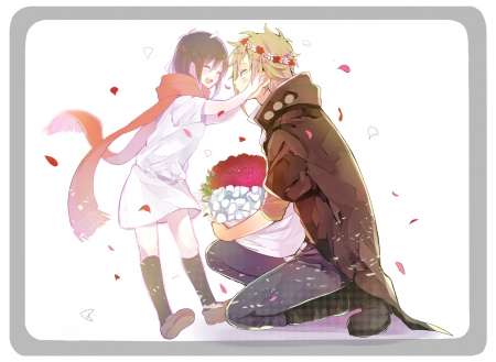 just SMILE and be HAPPY! - pretty, dress, green eyes, game, petlals, beautiful, anime boy, lights, sweet, nice, kagerou project, anime, Shuuya Kano, flowers, beauty, anime girl, long hair, friends, female, male, brown hair, music, smile, blonde hair, singer, roses, short hair, cute, cool, song, awesome, Ayano Tateyama