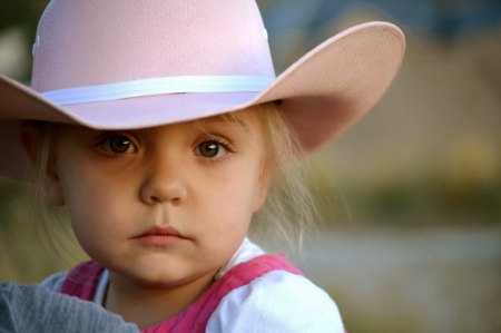 sad young cowgirl - cute, adorable, cowgirl, hat