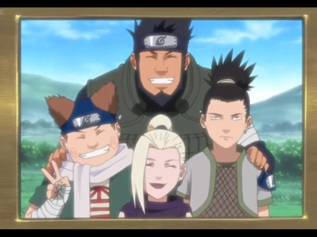 Team Asuma - pretty, blond, naruto, guy, sweet, naruto shippuden, nice, group, anime, ino, beauty, anime girl, long hair, team, black hair, ninja, shinobi, female, male, lovely, blonde, smile, blonde hair, blond hair, happy, sikamaru, boy, girl, shippuden