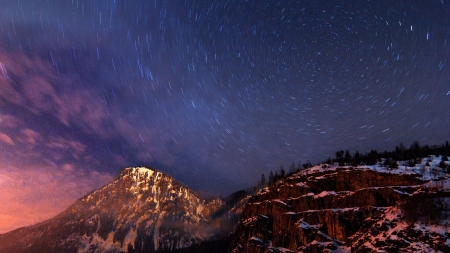 snowing under starry night - stars, snow, rocks, night, mountains