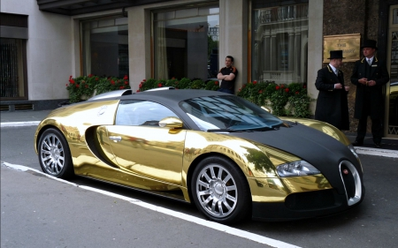 Gold Plated Bugatti Veyron Bugatti Cars Background Wallpapers On