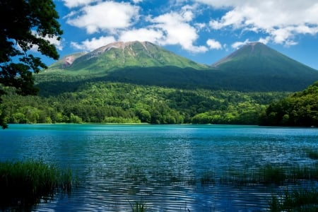 * Blue and beautiful lake * - nature, sky, lake, mountains