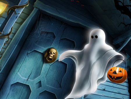 Halloween Ghost - angry, halloween, door, other, anime, dark, celtic, spooky, screem, lamp, irish, samhain, spook, ghost, pumpkin, scarry, house