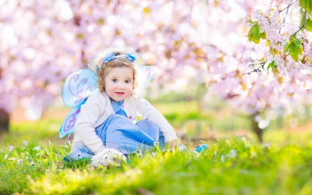 Pretty Girl - princess, flowers, spring, grass, bokeh, green, girl, cute, trees, spring time, nature