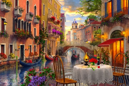 Venice restaurant - dinner, colorful, canal, Italy, dusk, beautiful, boats, bridge, painting, evening, street, table, art, lovely, romantic, Venice, restaurant, summer, gondola