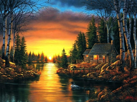 Sunset over River - sun, cottage, nature, trees, sky, artwork