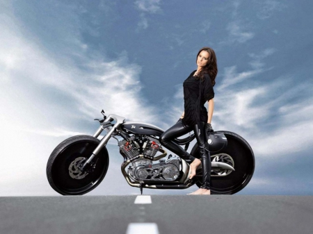 leather & lace - bike, chopper, harley, motorcycle