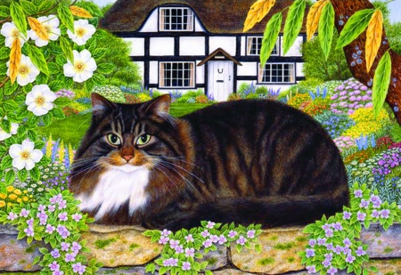 Country cat - house, cottage, freshnes, leaves, painting, flowers, art, rest, quiet, calmness, relax, greenery, nap, country, cat, serenity, garden