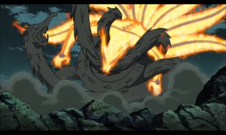 Kyuubi vs Hashirama's Wooden Dragon - naruto, kitsune, tails, magic, naruto shippuden, jinchuriki, anime, kyuubi, ninja, shinobi, fighting, war, nine tails, battle, magical, fight, monster, shippuden, sinister, scene, creature