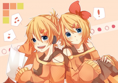 Rin & Len ~the vocaloid twins~ - pretty, super cute, lovely twins, anime, happy len, blue eyes, vocaloid, hair ribbon, blonde hair, rin kagamine, smiling, short hair, cute, len kagamine, laughing, cute outfit, happy rin
