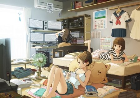 having fun with my friends -my daily life- - dark hair, books, enjoying daily life, pretty girls, playing games, anime, long hair, friends, art, brown hair, in bed, watching tv, happy, short hair, cute, hanging out with friends, surfing net, relaxing, seifuku