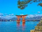 itsukushima shrine in a japanese bay hdr