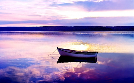 Purple World - purple sky, sunset, sky, clouds, lake, boat, water, splendor, purple, nature, sunrise, reflection