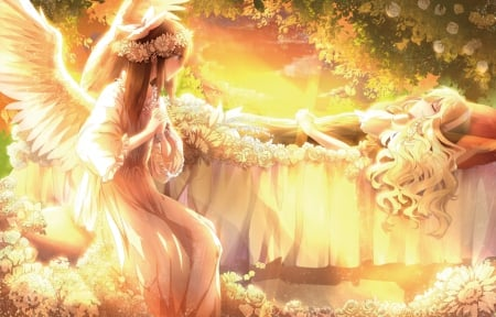 Guardian Angel - dress, sleep, hakurei reimu, beautiful, hakurei, floral, blossom, gold, anime, marisa, bright, touhou, beauty, anime girl, light, kirisame marisa, female, reimu hakurei, angel, lying, gown, sleeping, girl, lay, flower, reimu, petals, laying