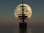 silhouette of a tall ship under huge moon