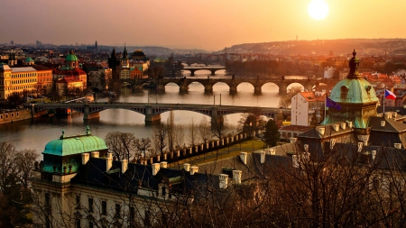 sunset over a river with many bridges in prague - sunset, city, river, bridges