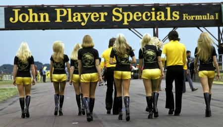 Grid Girls John Player Specials Silverstone - F1, auto racing, motorsports, grid girls