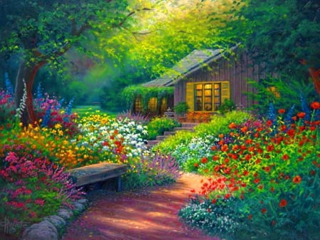 Fairytale cottage - pretty, house, grass, cottage, fairytale, beautiful, beauitiful, painting, flowers, dream, art, forest, quiet, calmness, cozy, lovely, greenery, freshness, serenity, paradise, peaceful, summer
