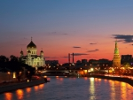 wonderful river in moscow at twilight