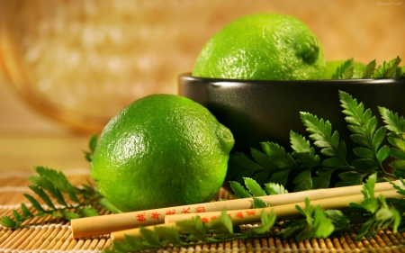 Feng Shui - leaves, Chinese sticks, green, fresh, feng shui, lemons