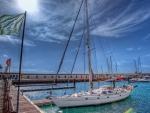 sailboat in a beautiful harbor marina hdr