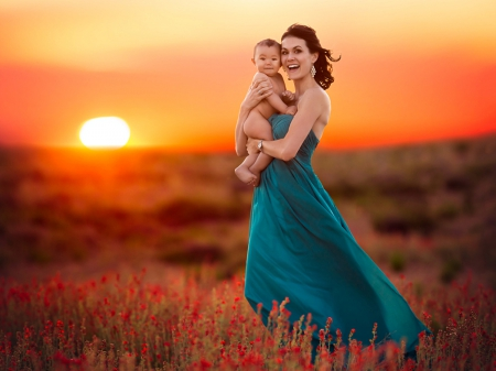 ♥ - mom, sunset, sky, woman, clouds, baby, happy, splendor, girl, love, flowers, nature, child, lady, field