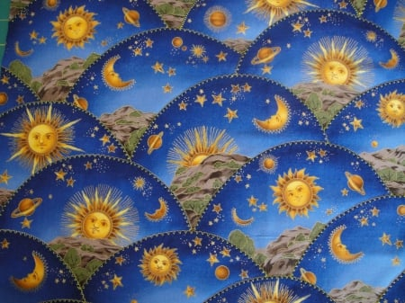SUN AND MOON - BLUE, FABRIC, SUN, MOON, PLATES