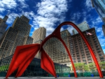 sculpture outside federal building in chicago hdr