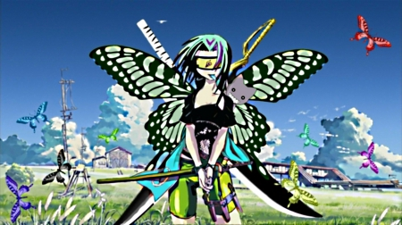Daio butterfly - glasses, colors, armed, green