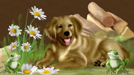 Golden Lab And Frogs Frogs Spring Daisies Summer Logs Flowers