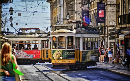 trams on the streets of lisbon hdr - city, hdr, trams, streets, tracks