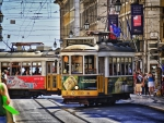 trams on the streets of lisbon hdr
