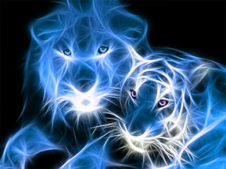 Blue Tiger And Lion Fractal Cats Animals Background Wallpapers
