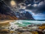 Nordic Beach In Lofoten Islands