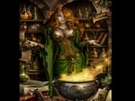 Witch Mixing Up A Spell