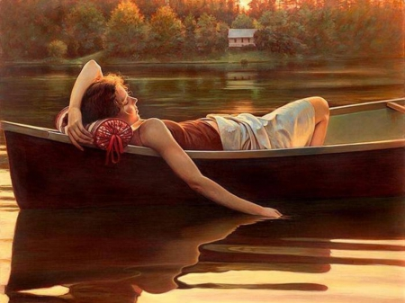 Relaxation - house, boat, girl, enjoying, nap, relaxing, lake