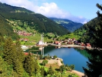 turkish village on a mountain lake
