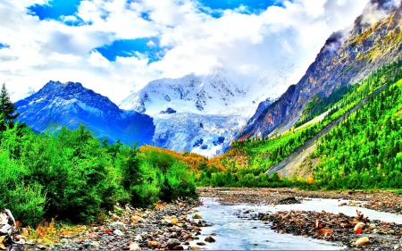 Beautiful mountain valley - sky coluds, rocks, green nature, pretty colorful, valley, waterfalls streams, water, splendor, paradise, mountains, plants, nature, streams, pretty colors, landscape