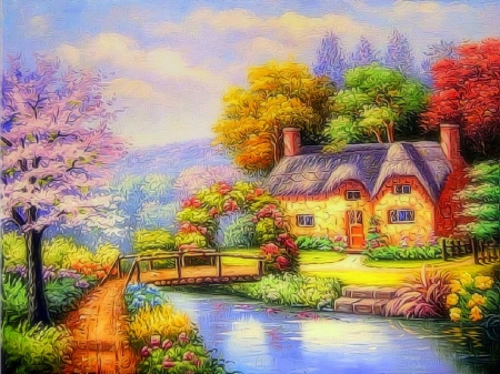 ★Garden on the Canal★ - architecture, stunning, cottages, gardening, attractions in dreams, beautiful, most downloaded, paintings, flowers, season, streams, cabins, bridges, love four seasons, creative pre-made, spring, trees, canals, gardens and parks, nature