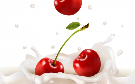 Cherries - red, food, sweet, dessert, fruit, green, milk, white, cherry