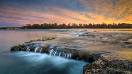 beautiful flowing river - rocks, flowing, river, sunset, trees