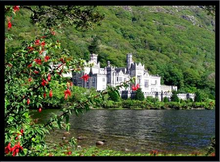 Irish Castle - ireland, castle, flowering tree, mountain, lake
