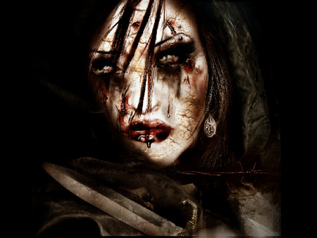 dark terror ...the onslaughter - terror, vile, starrayne, horror, gothic woman, knife, blood, gothic, gore, dark, dark fantasy, other