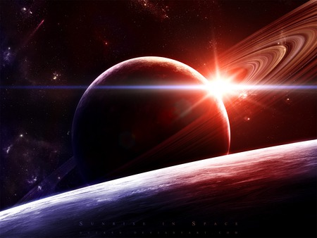 Sunrise in Space - planets, michelmann, universe, gucken, jeff, sunrise, planet, space
